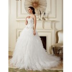 Ball Gown Wedding Dress - Ivory Court Train Straps Tulle Wedding Dresses