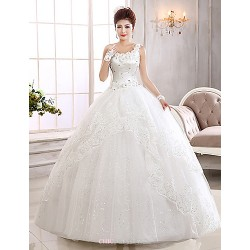 Ball Gown Wedding Dress Floor Length One Shoulder Lace
