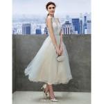 Cocktail Party / Company Party Dress - Sky Blue A-line Jewel Tea-length Lace Wedding Dresses