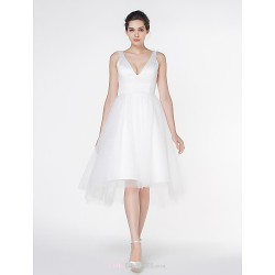 - A-line Wedding Dress - Ivory Asymmetrical V-neck Satin / Tulle