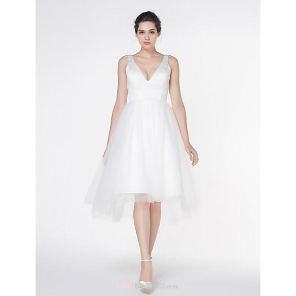 - A-line Wedding Dress - Ivory Asymmetrical V-neck Satin / Tulle Wedding Dresses