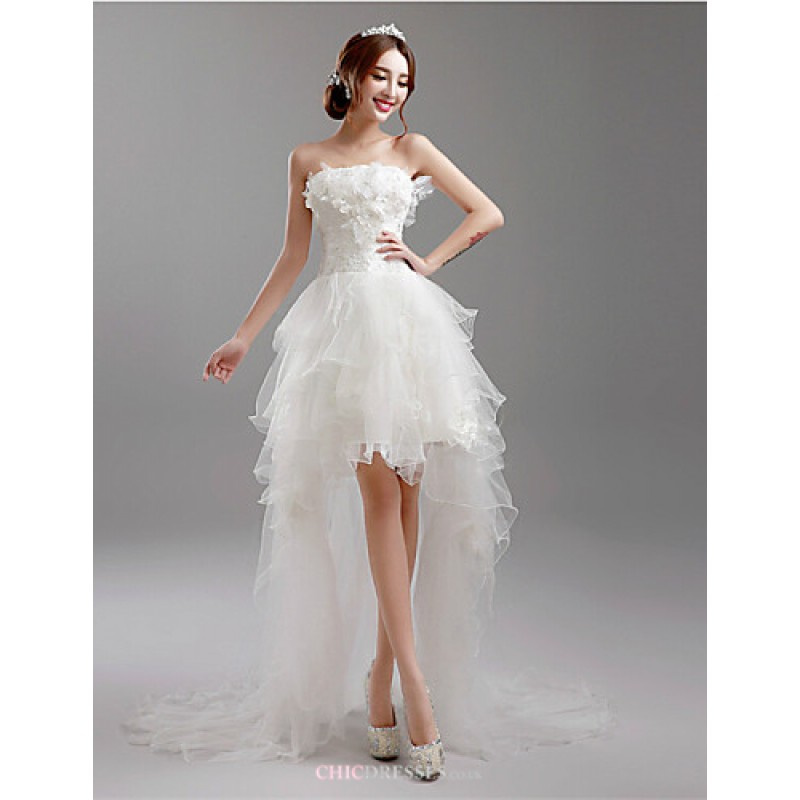 A Line Asymmetrical Wedding Dress Strapless Tulle Cheap