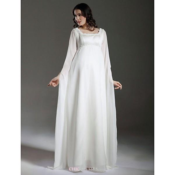 Sheath/Column Maternity Wedding Dress - Ivory Floor-length Square Chiffon/Satin Wedding Dresses