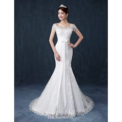Trumpet Mermaid Wedding Dress White Court Train Off The Shoulder Lace Satin Tulle
