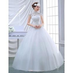 Ball Gown Wedding Dress White Floor Length High Neck Tulle