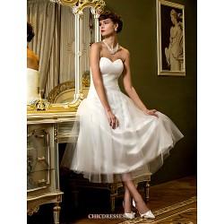 A-line Wedding Dress - Ivory Tea-length Sweetheart Tulle
