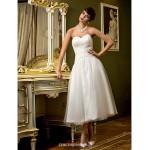 A-line Wedding Dress - Ivory Tea-length Sweetheart Tulle Wedding Dresses