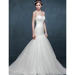 Trumpet Mermaid Wedding Dress Ivory Chapel Train Sweetheart Satin Tulle