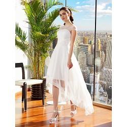 A-line Wedding Dress - Ivory Asymmetrical Bateau Chiffon