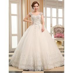 Ball Gown Wedding Dress Ivory Floor Length V Neck Tulle
