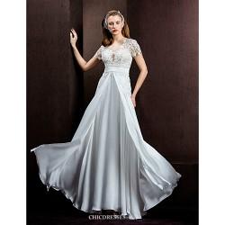 A Line Princess Wedding Dress Ivory Floor Length Jewel Lace Satin Chiffon