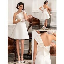 A-line/Princess Plus Sizes Wedding Dress - Ivory Knee-length One Shoulder Satin