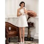 A-line/Princess Plus Sizes Wedding Dress - Ivory Knee-length One Shoulder Satin Wedding Dresses