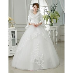 Ball Gown Floor Length Wedding Dress V Neck Satin