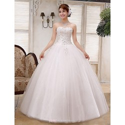 Ball Gown Wedding Dress White Floor Length Straps Lace Satin Tulle