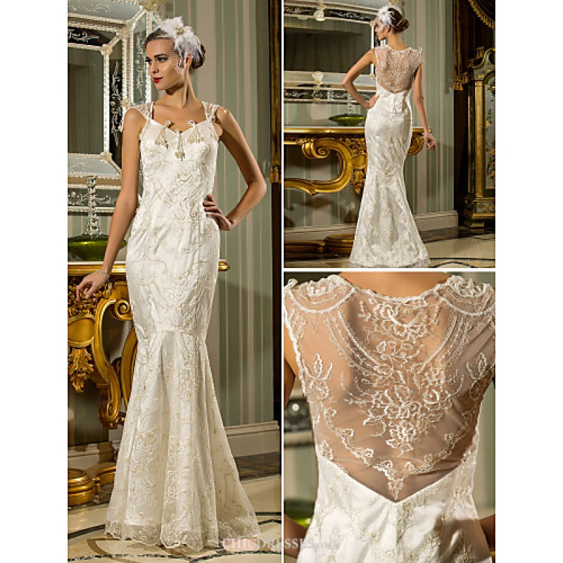 Trumpet mermaid plus sizes wedding dress ivory floor for Stretch lace wedding dress