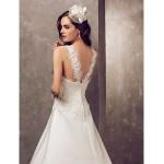 A-line Plus Sizes Wedding Dress - Ivory Court Train Jewel Satin/Tulle Wedding Dresses