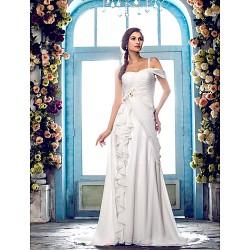 A-line Plus Sizes Wedding Dress - Ivory Sweep/Brush Train One Shoulder Chiffon