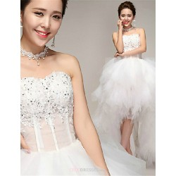 A Line Asymmetrical Wedding Dress Sweetheart Tulle
