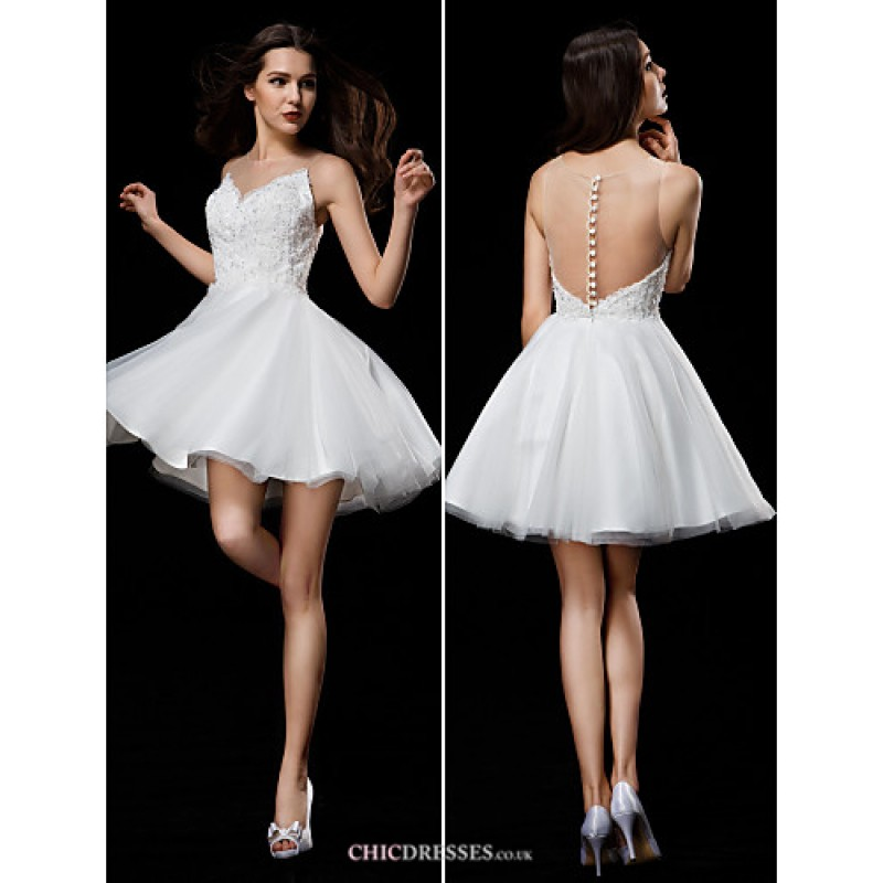 efdec80b84 Ball Gown Wedding Dress - Ivory Short Mini Jewel Tulle Wedding Dresses