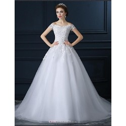 Ball Gown Wedding Dress - White Chapel Train Off-the-shoulder Tulle