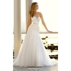 Trumpet Mermaid Court Train Wedding Dress Sweetheart Tulle