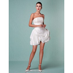 Ball Gown Plus Sizes Wedding Dress - Ivory Short/Mini Strapless Taffeta