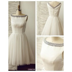 A-line Wedding Dress - Ivory Knee-length Bateau Satin / Tulle