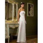 Sheath/Column Plus Sizes Wedding Dress - Ivory Floor-length Strapless Satin Wedding Dresses