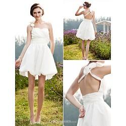 A-line/Princess Plus Sizes Wedding Dress - Ivory Short/Mini One Shoulder Taffeta
