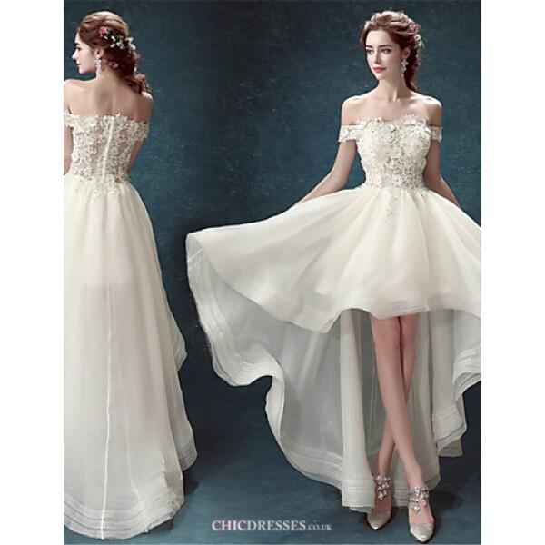 A-line Asymmetrical Wedding Dress - Off-the-shoulder Organza Wedding Dresses