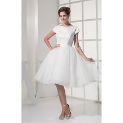A-line Wedding Dress - Ivory Knee-length Bateau Tulle