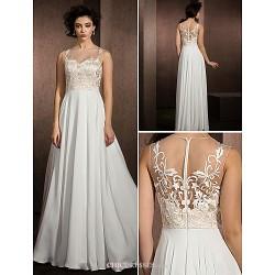 A-line Wedding Dress - Multi-color Floor-length Jewel Lace/Satin Chiffon