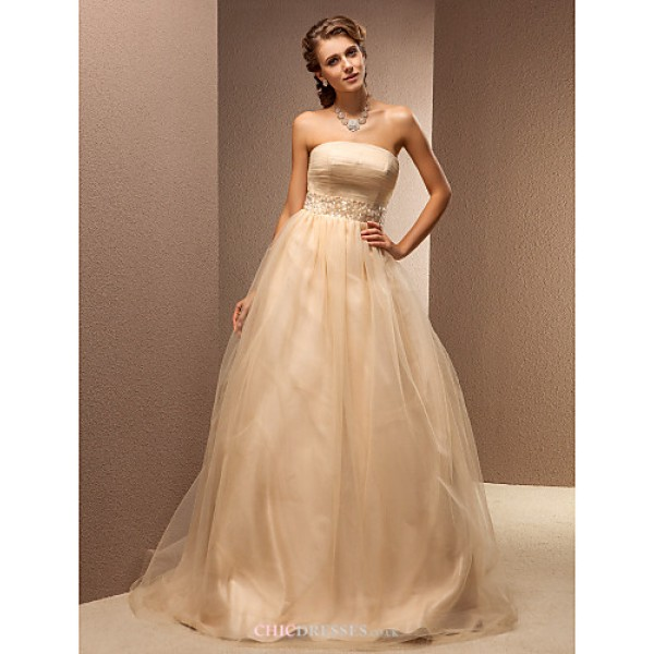 A-line Plus Sizes Wedding Dress - Champagne Sweep/Brush Train Strapless Tulle Wedding Dresses