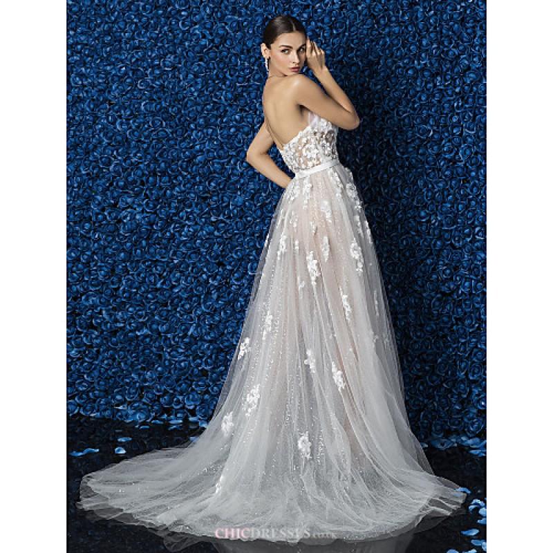 Cheap Wedding Dresses Under 500 Dollars: Ivory Court Train Strapless Chiffon