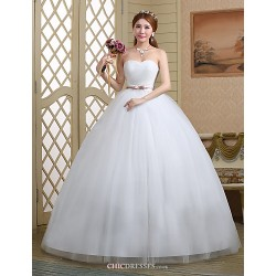 Ball Gown Wedding Dress White Floor Length Sweetheart Lace Tulle