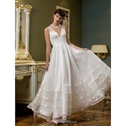 A-line Wedding Dress - Ivory Ankle-length V-neck Tulle/Organza