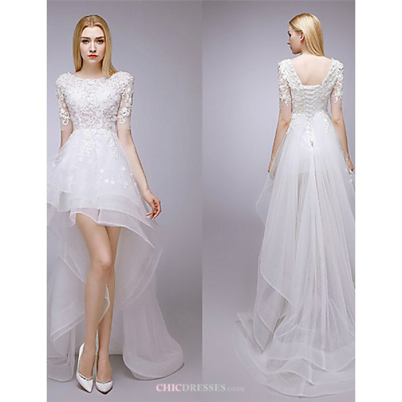 24d325f892be A-line Asymmetrical Wedding Dress - Jewel Lace Wedding Dresses
