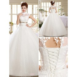 Ball Gown Wedding Dress Floor-length High Neck Lace