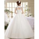 Ball Gown Wedding Dress Floor-length High Neck Lace Wedding Dresses