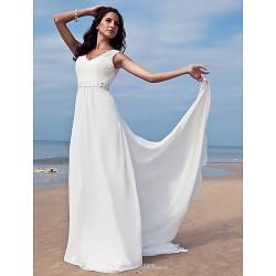 Sheath Column Plus Sizes Wedding Dress Ivory Floor Length V Neck Chiffon