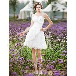 A Line Princess Plus Sizes Wedding Dress Ivory Knee Length Spaghetti Straps Lace Taffeta