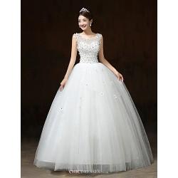 Ball Gown Wedding Dress - White Floor-length Scoop Satin / Tulle