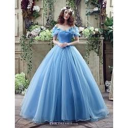 Wedding Dress Sky Blue Court Train Off The Shoulder Georgette