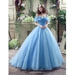 Wedding Dress - Sky Blue Court Train Off-the-shoulder Georgette Wedding Dresses