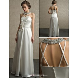 Sheath/Column Floor-length Wedding Dress -Halter Satin