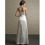 Sheath/Column Floor-length Wedding Dress -Halter Satin Wedding Dresses