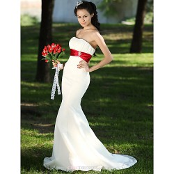 Trumpet/Mermaid Plus Sizes Wedding Dress - Ivory Sweep/Brush Train Strapless Satin