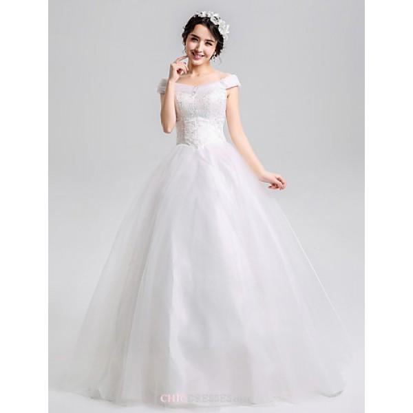 A-line Floor-length Wedding Dress - Bateau Organza Wedding Dresses