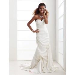 Trumpet Mermaid Plus Sizes Wedding Dress Ivory Court Train Sweetheart Satin